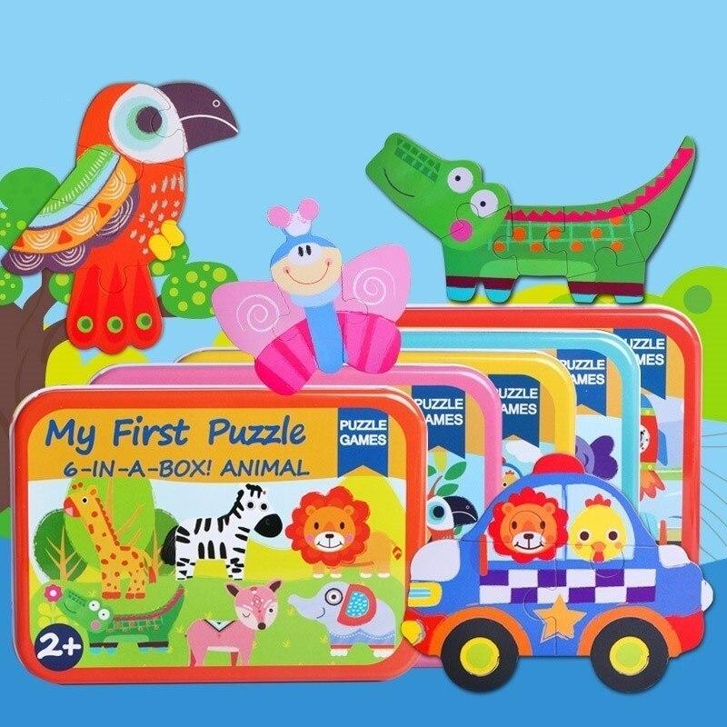 Animal Educativos Juguete Juguetes Montessori De 3d Dibujos 1 Animados Para Madera Rompecabezas 6 En Caja Niños uc3lTFK1J5