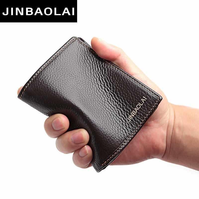 100% мужские бумажники из натуральной кожи, распродажа, товар высшего сорта, бумажники для мужчин, короткие черные Walet Portefeuille Homme