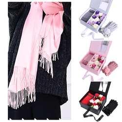 Искусственные розы цветы шарф перчатки ожерелье Свадьба День рождения Дерево квадратный юбилей, свадьба, подарочная коробка