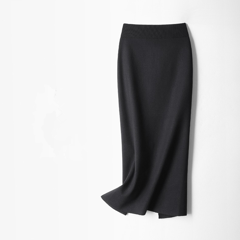 Jupes pour femmes avec élastique crayon longue jupe Sexy taille haute tricoté jupes décontracté cheville longueur automne hiver printemps 1315