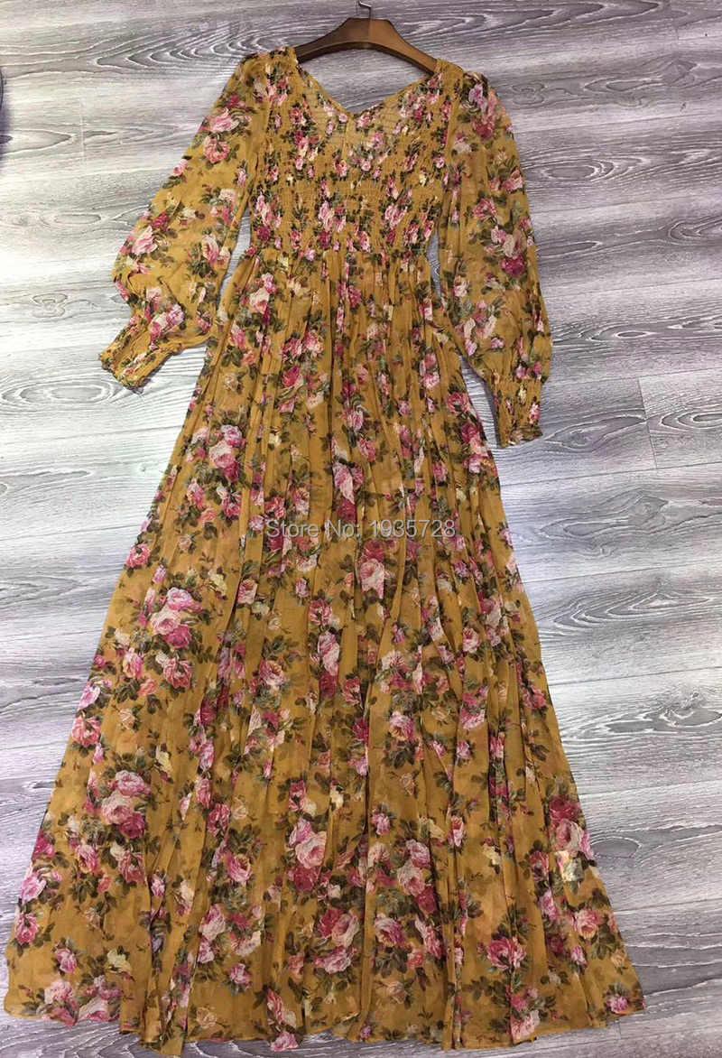 eb74b3535f864 Top Quality Silk Sienna Bouquet Floral Print Golden Shirred Midi Dress  Blouson Sleeves & V-neck & Shirred Bodice & Sleeve Cuffs