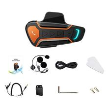1000 m Bluetooth Motosiklet Kask Interkom Kulaklık 3 Rider BT Kablosuz Walkie Talkie için Moto Stereo Interkom MP3 GPS + FM Rady...