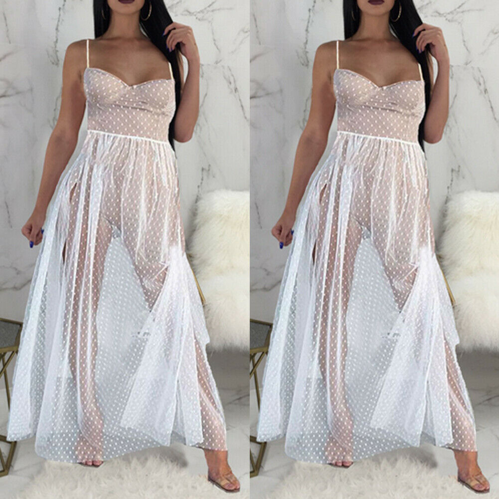 Hot Sale Women Bandage Spaghetti Strap See Through Summer