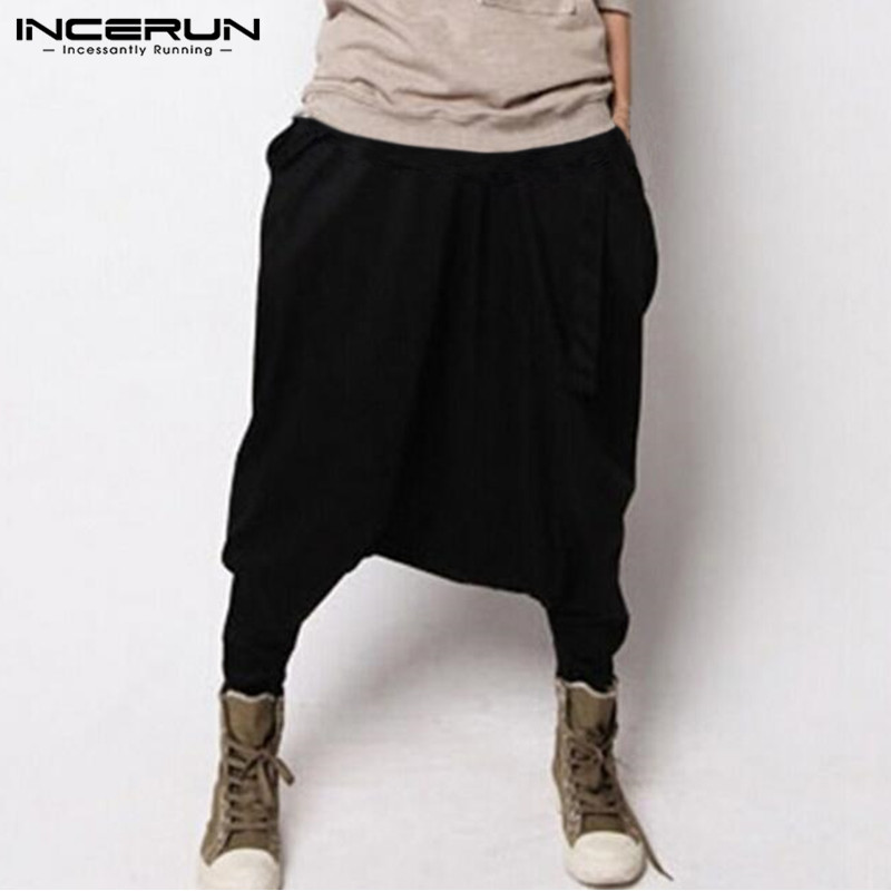 2020 Mens Harem Pants Hip-hop Streetwear Loose Drop Crotch Trousers Men Solid Color Fashion Casual Baggy Cool Male Pants INCERUN