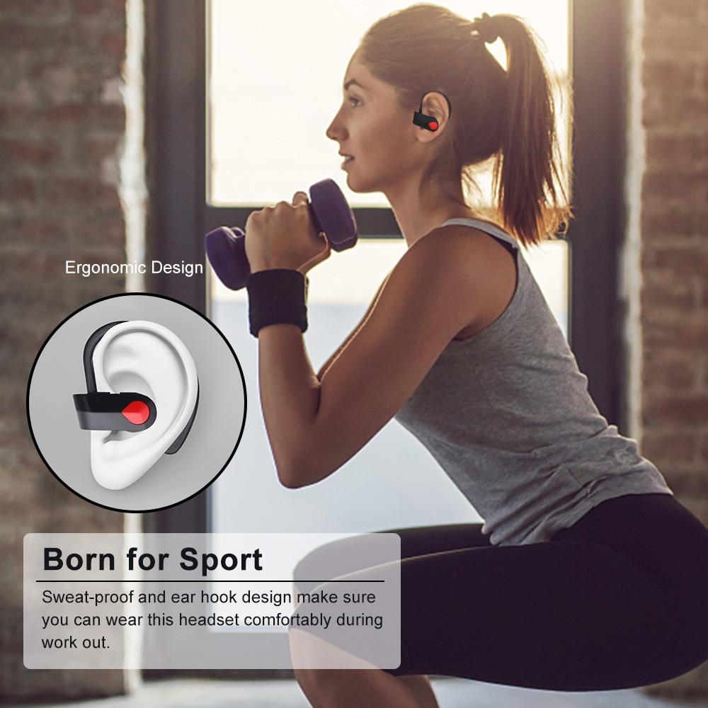 Wireless Bluetooth TWS Earphone with Mic Headset Ear Hook Support Single Headset Sweat-proof bluetooth Sport earphone dropship