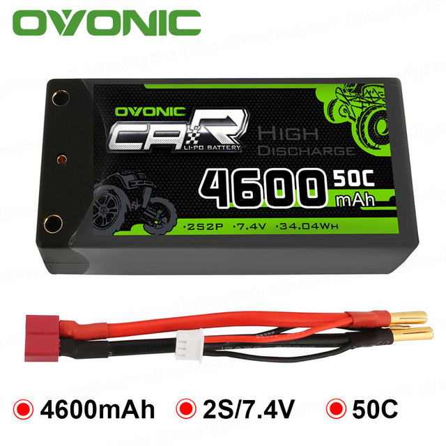 Ovonic 2S Shorty Lipo 7.4V 50C 4600mAh Hardcase Lipo Battery with 4mm Bullet Deans Ultra Plug Connector for RC 1/10 Scale Vehicl
