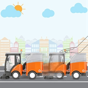 Image 4 - Simulation Road Sweeper Car Toy Garbage Truck Sanitation Disposal Streetcar Model Light Music Pull back Vehicle Early Education