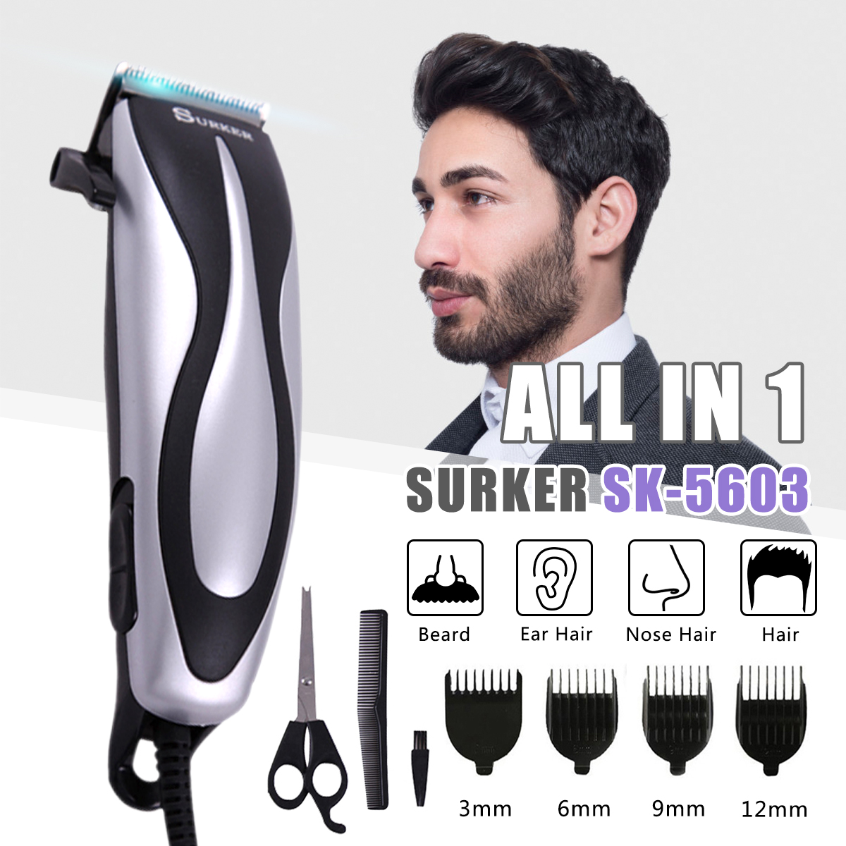 SURKER SK-5603 Electric Corded Hair Trimmer Professional Family Barber Haircut Machine with Haircut Comb Hair Clipper EU Plug new surker hc 575 rechargeable silent electric trimmer hair trimmer led display electric fader haircut machine with eu plug