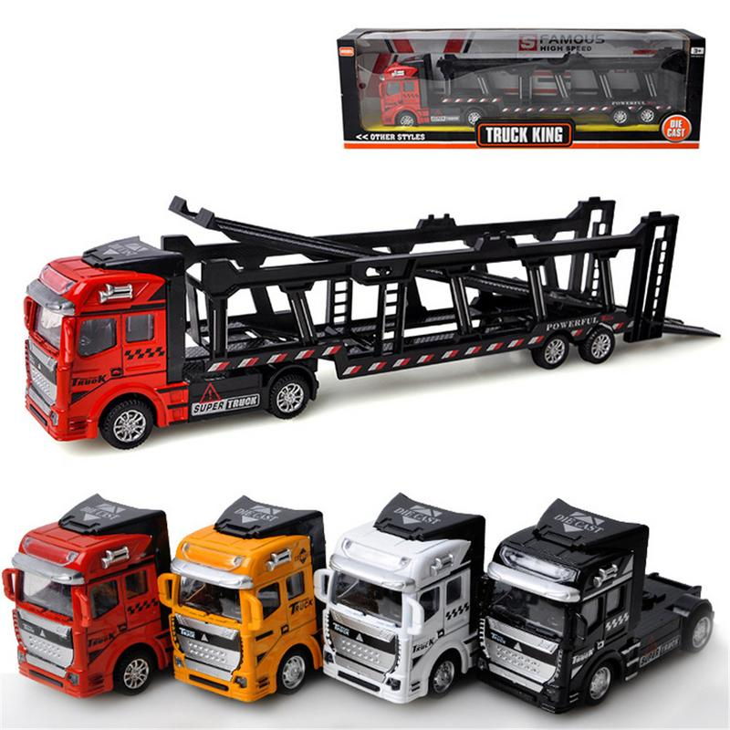 1:48 Alloy Truck Transporter Model Pull Back Toy Car Four Types Best Gift To Children Kid Toys For Boy New Year Gift