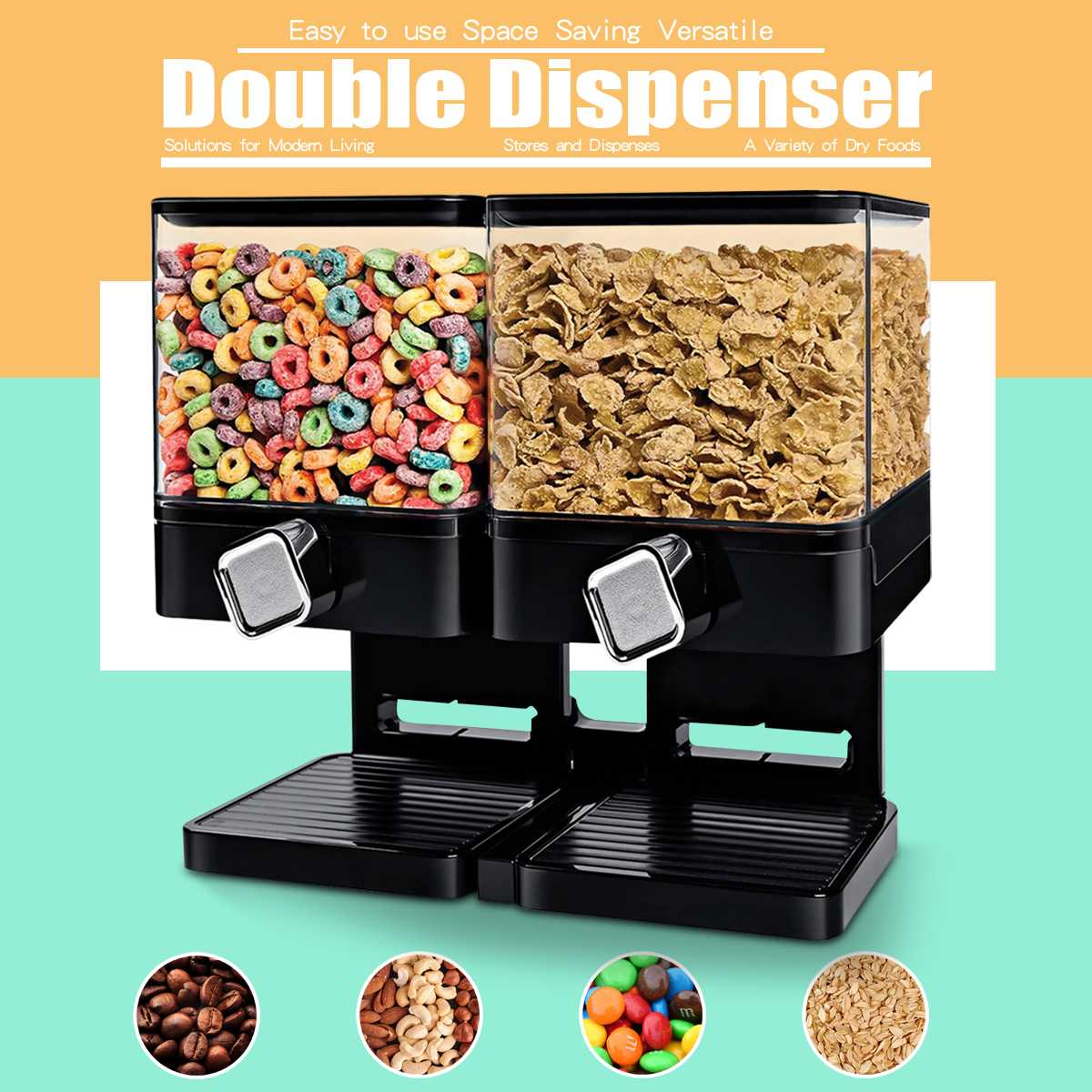 Double Cereal Dispenser Storage Container Dry Food Snack Kitchen Canister Fresh for Home Shop Kitchen Storage Food BottleDouble Cereal Dispenser Storage Container Dry Food Snack Kitchen Canister Fresh for Home Shop Kitchen Storage Food Bottle