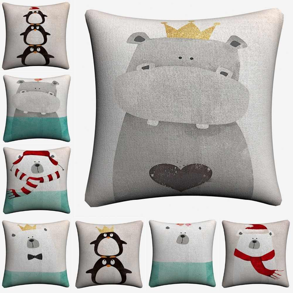 Hippo Polar Bear Pinguin Kids Cartoon Decorative Pillow Covers For Sofa Home Decor Linen Cushion Case 45x45cm Throw Pillow Cases