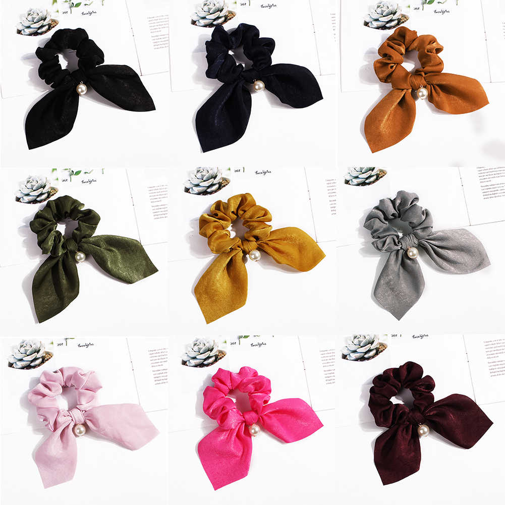 Cute Rabbit Ear Rubber Headband for Women Hair Bows Pearl Ponytail Holder Scrunchies Solid Hair Ties for Girls Hair Accessories