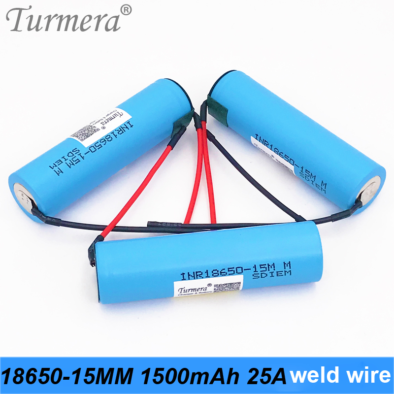 original battery 18650 15M inr18650-15M 1500mah 25A wire for power tools screwdriver battery and E-cig battery for Turmera jun23