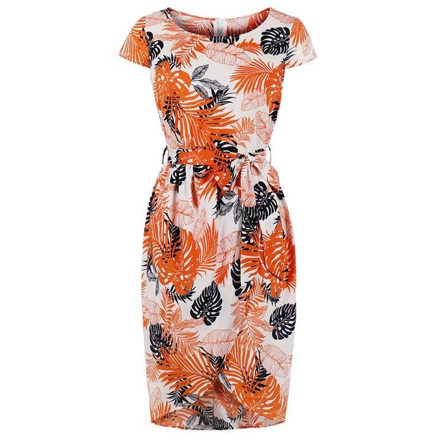Wipalo летнее женское винтажное платье с принтом листьев Bodycon ремни оранжевый 100% хлопок Ретро вечерние Вечеринка Vestidos De Festa Одри платье