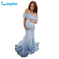 Shoulderless maternity dress elegant mermaid long dress pregnancy clothes pregnant gown photo shoot photo props robe sexy P30