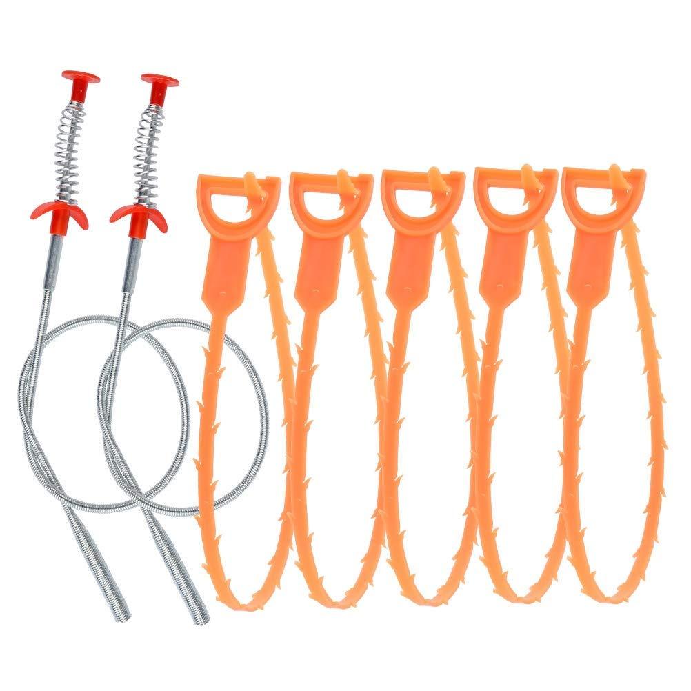 7Pcs Drain Snake Set, 5Pcs Drain Relief Tool + 2Pcs Drain Snake Hair Clog Remover for Kitchen Sink Bathtub Shower