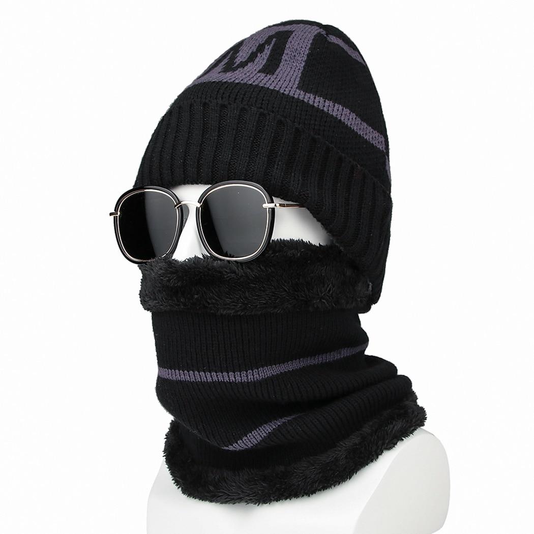 2 Stücke Set Männer Winter Hüte Schal Fleece Warme Brief Gestrickte Kappen Ring Schal Männlichen Outdoor Ski Schnee Radfahren Hüte Schals Zubehör