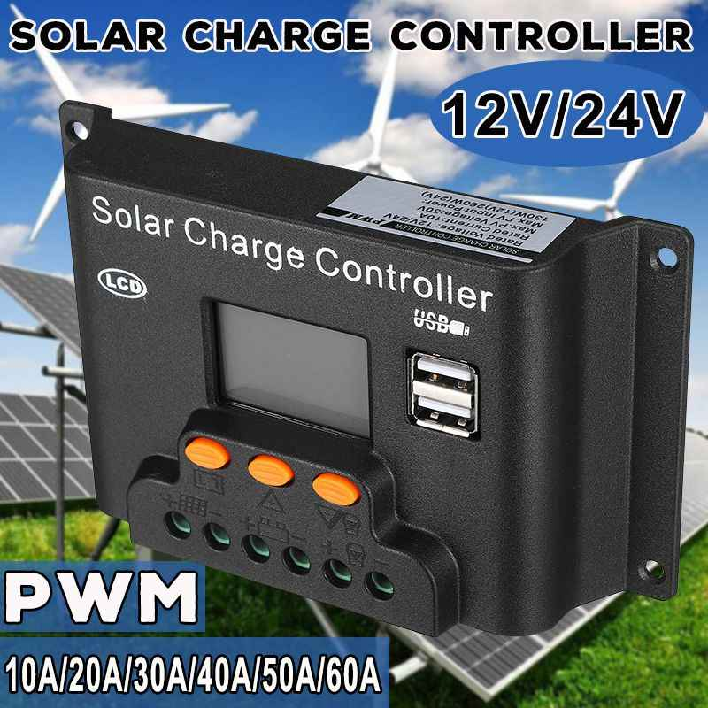 10/20/30/40/50/60A PWN Solar Charge Controller Dual USB LCD Display 12V 24V Auto Solar Cell Panel Charger Regulator PV Home
