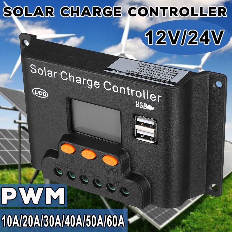 10/20/30/40/50/60A PWN Solar Charge Controller Dual USB LCD Display 12V 24V Auto Solar Cell Panel Charger Regulator PV Home10/20/30/40/50/60A PWN Solar Charge Controller Dual USB LCD Display 12V 24V Auto Solar Cell Panel Charger Regulator PV Home