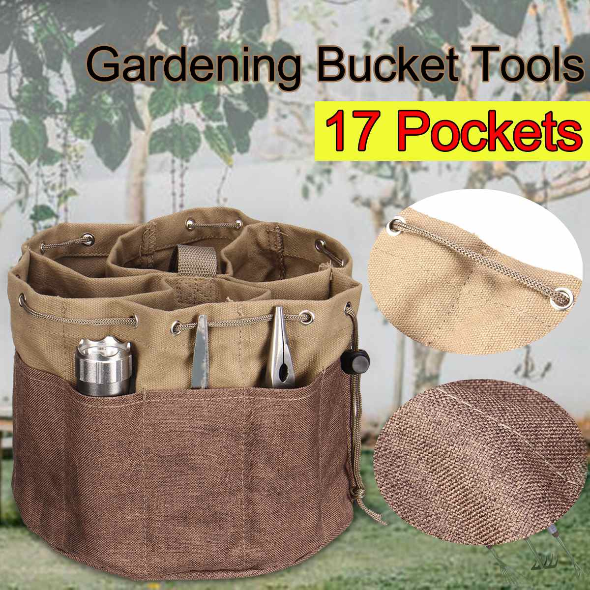 Bucket Organizer Tote Bag Large Capacity 17 Pockets Auto Tool Holder Toolkit Storage Bag Drawstring Pockets For Toolbag Storage