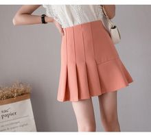 Spring and summer new style Plain pleated shirt High waist slim Fashion short
