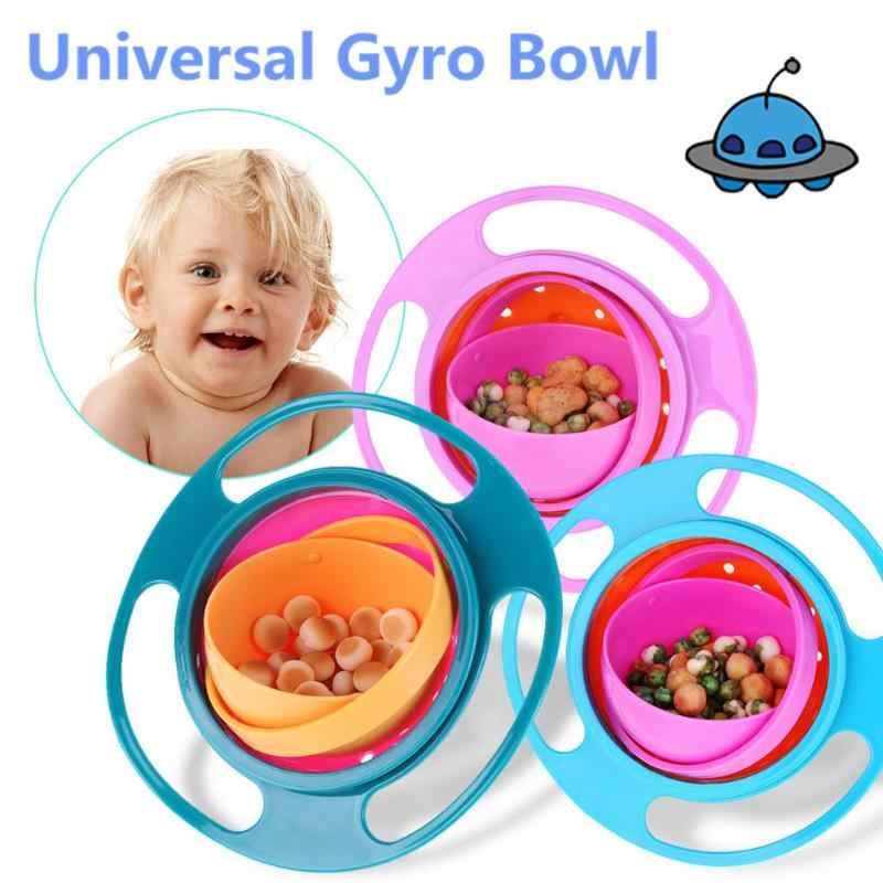เด็กการเรียนรู้จานชาม Novelty 360 หมุน Gyro ร่มชามรั่วไหลเด็ก Balance ชามอาหารเย็นสำหรับเด็ก