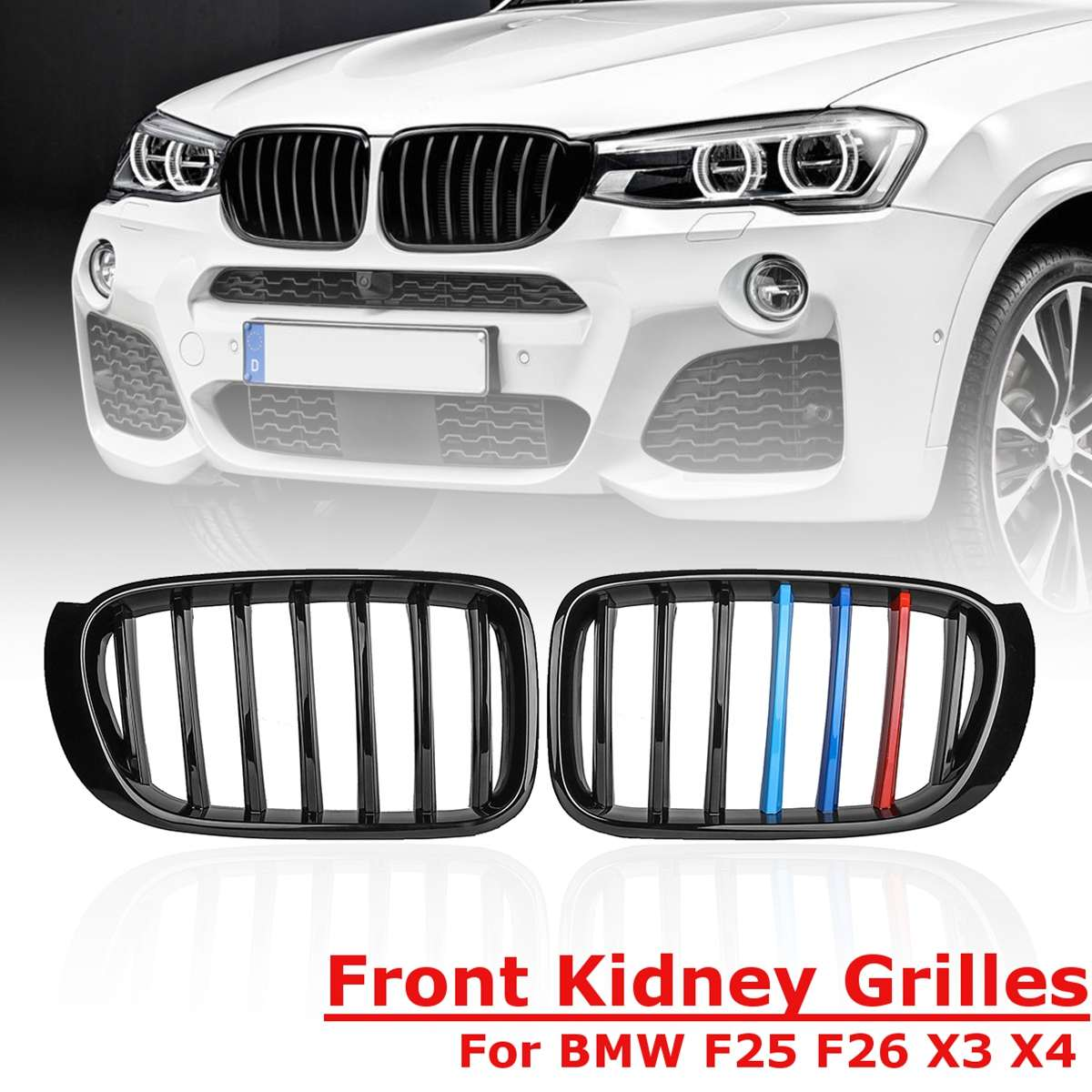 For Front Bumper Sport Kidney Grill Grille Gloss Black Replacement Racing 1 Pair 3 Colors for BMW X3 F25 F26 2014 2015 2016 2017For Front Bumper Sport Kidney Grill Grille Gloss Black Replacement Racing 1 Pair 3 Colors for BMW X3 F25 F26 2014 2015 2016 2017