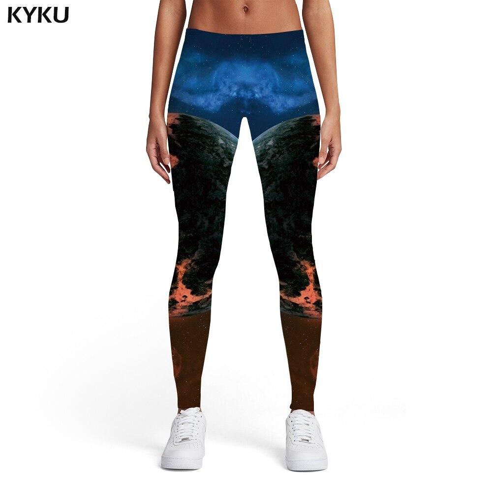 Kyku Galaxy Leggings Women Earth Sport Yinyang Spandex Vintage Sexy Printed Pants Womens Leggings Pants Jeggings Fashion Skinny