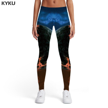 KYKU Galaxy Leggings Women Earth Sport Yinyang Spandex Vintage Sexy Printed pants Womens Pants Jeggings Fashion Skinny