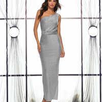 Vestidos серебряный блеск макси платья для женщин ropa mujer 2019 длинное летнее платье спинки одно плечо sukienka праздничная одежда