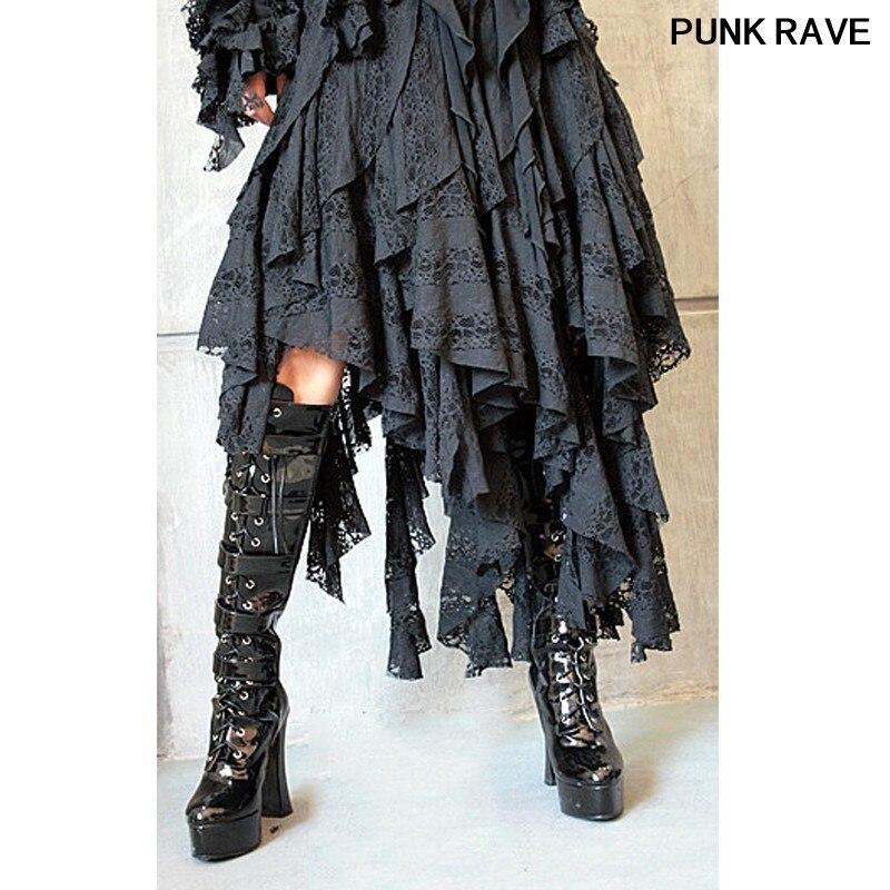 Gothique mode Sexy femmes décontracté noir jupes irrégulières Steampunk populaire magnifique Court dentelle courte jupe Punk Rave Q-079