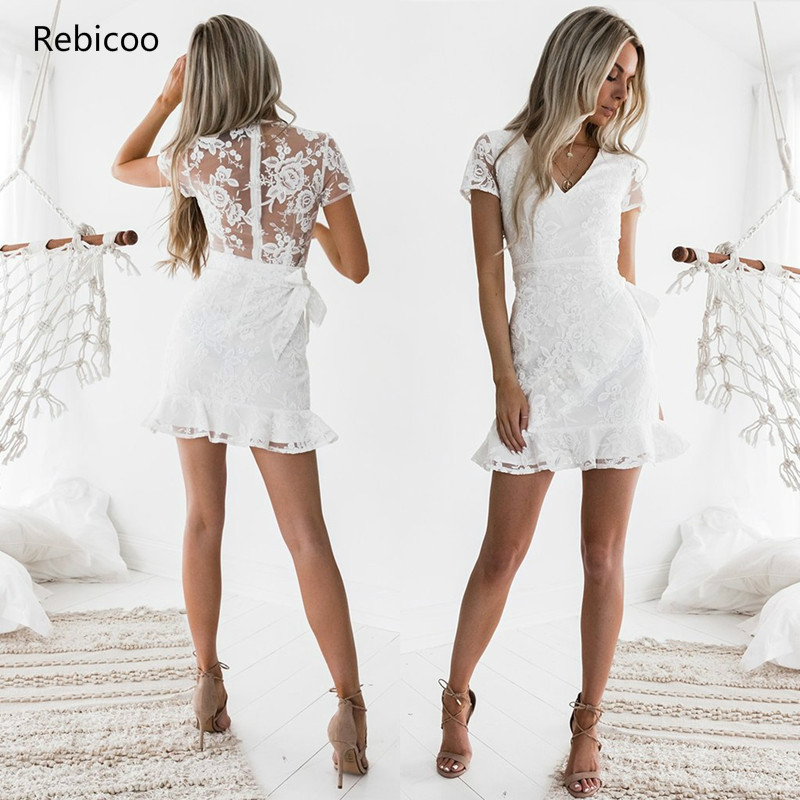 <font><b>New</b></font> Arrivals <font><b>2018</b></font> <font><b>Women</b></font> Summer Casual Lace <font><b>Sexy</b></font> Bodycon Sundress <font><b>Fashion</b></font> Vintage <font><b>White</b></font> Mini Floral <font><b>Backless</b></font> <font><b>Dress</b></font> image