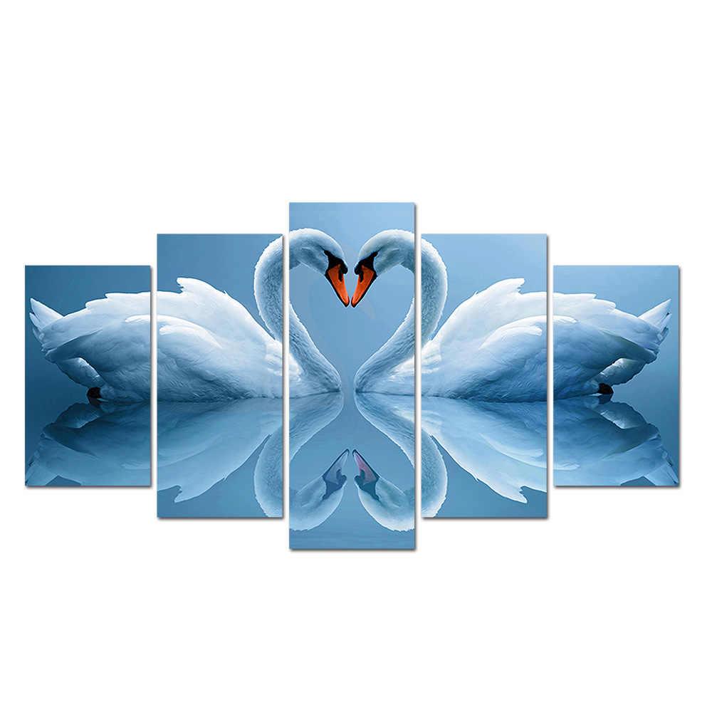 5 Панель Белый лебедь пары домашний Декор картина маслом Модульная картина HD холст рамки Настенные рисунки постер для декорации дома