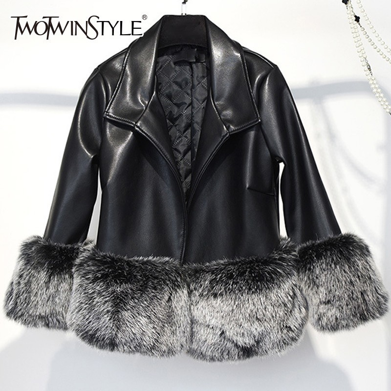 TWOTWINSTYLE Faux Fox Fur Patchwork PU Leather Jackets Women Long Sleeve Short Jacket Female Fashion Clothes Winter 2019 Tide