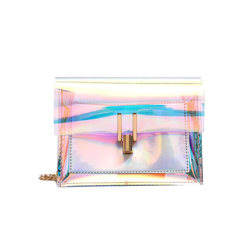 Голографические женские сумки, лазерные сумки-мессенджеры, сумка на плечо, прозрачные сумки через плечо Сумочка с клапаном