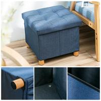 Denim Fabric Solid Wood Storage Four Footstool Toy Storage Box with Cover Waterproof and Moth Proof Organizer