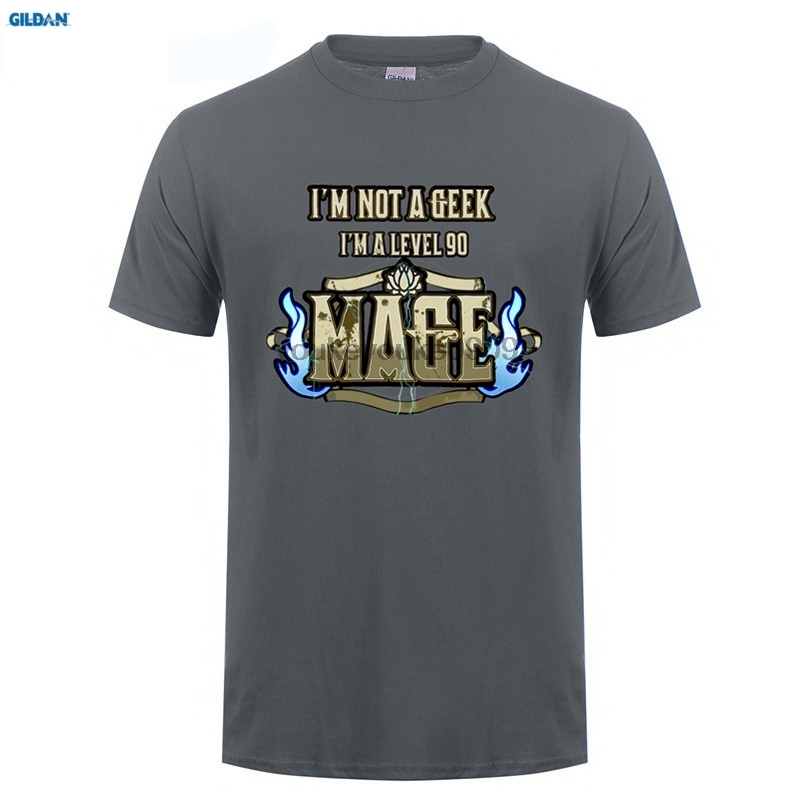 GILDAN Printed Tee Shirt Design Tees I 39 m Not A Geek I 39 m A level 90 Mage MMO RPG Tabletop Roleplay Mens T Shirt in T Shirts from Men 39 s Clothing