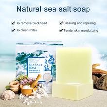 100g Sea Salt Soap Cleaner Removal Pimple Pores Acne Treatment Goat Milk Moisturizing Face Wash Soap Skin Care
