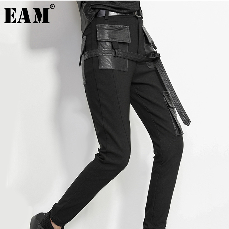 [EAM] 2020 New Spring High Waist Black Pu Leather Split Joint Loose Long Pencil Pants  Women Trousers Fashion Tide JK398