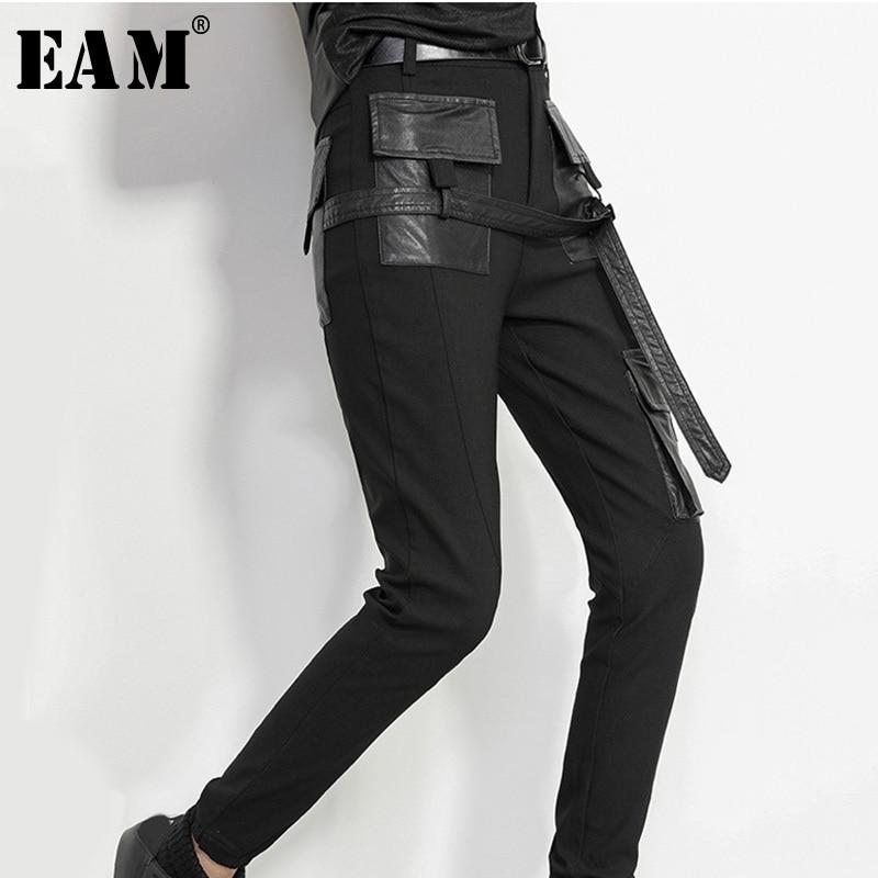 [EAM] 2020 New Spring High Waist Black Pu Leather Split Joint Loose Long Pencil Pants  Women Trousers Fashion Tide JK398