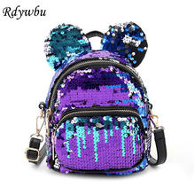 Hot Rdywbu Glitter Sequins Ear Shape Backpack Women Casual Mini Bling Travel Rucksack Girl Children Cute Pu School Bag Mochilas(China)