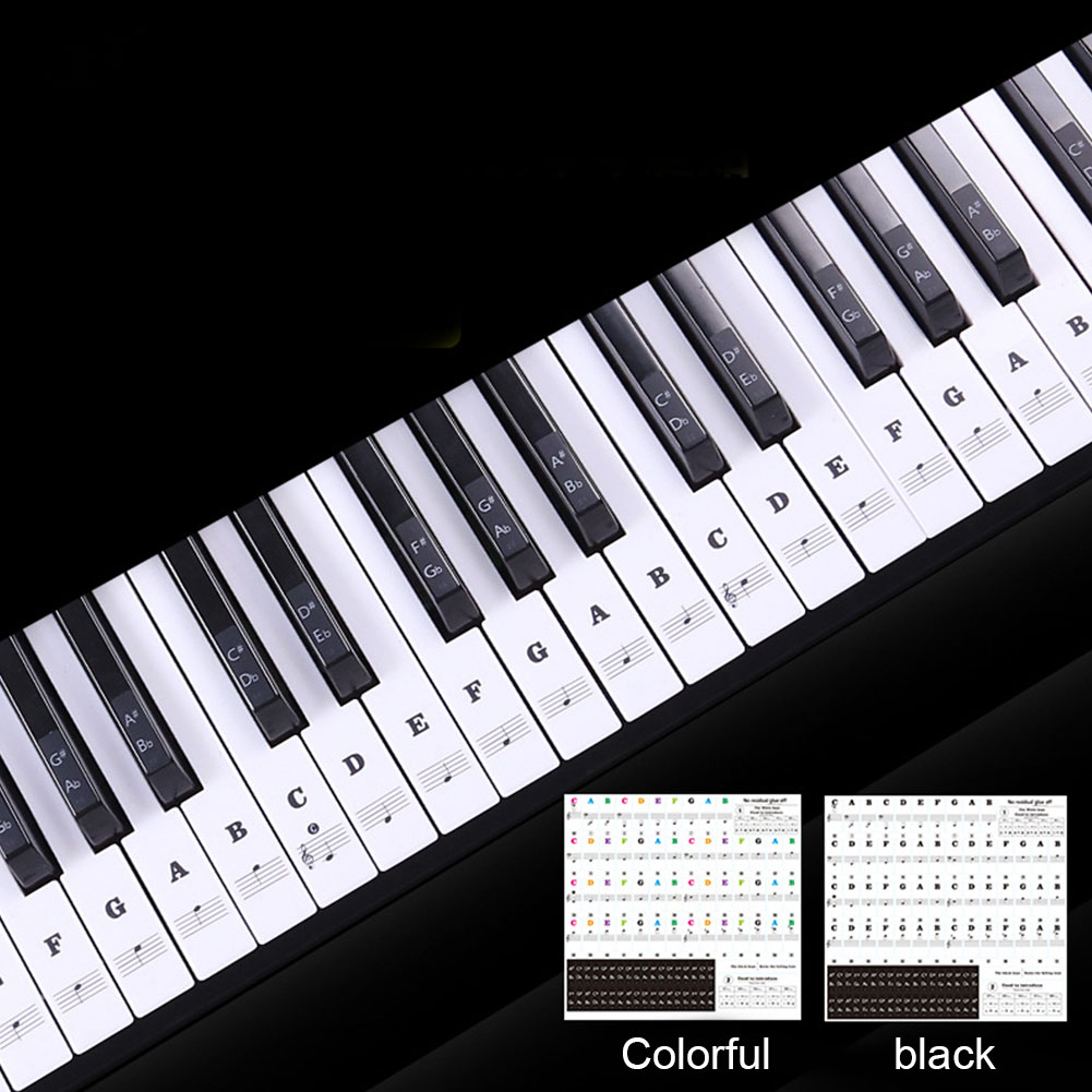 54/61 Keys Label PVC Stave Music Decal Removable Sticker Note Biginners Piano Keyboard