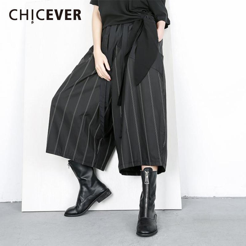 CHICEVER Spring Striped Black Trousers For Women   Pant   Elastice Waist Ankle-length Pockets Female   Wide     Leg     Pants   2019 Fashion New