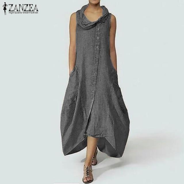 ZANZEA Plus Size Women Long Maxi Dress Stylish Asymmetrical Neck ...