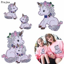 Prajna White Unicorn Sequined Stickers Embroidered Sew On Horse Patches For Family 3D DIY Big Small Garment Accessory Cartoon H