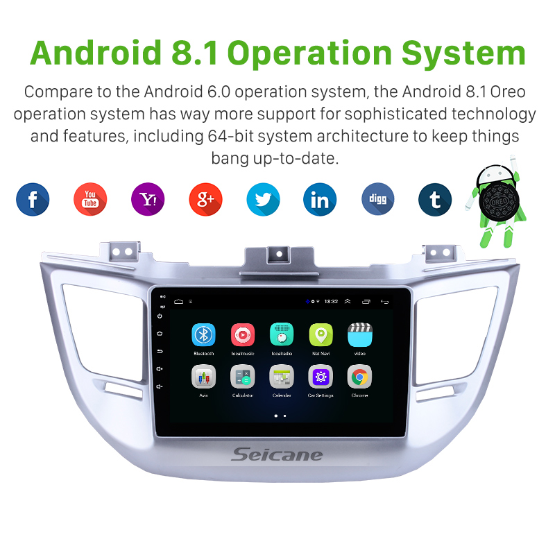 Seicane 9 Inch Android 8.1  For Hyundai TUCSON 2014 2015 2016 2017 2018  ROM 16GB Car GPS Unit Player Radio support TPMS DVR 3GSeicane 9 Inch Android 8.1  For Hyundai TUCSON 2014 2015 2016 2017 2018  ROM 16GB Car GPS Unit Player Radio support TPMS DVR 3G