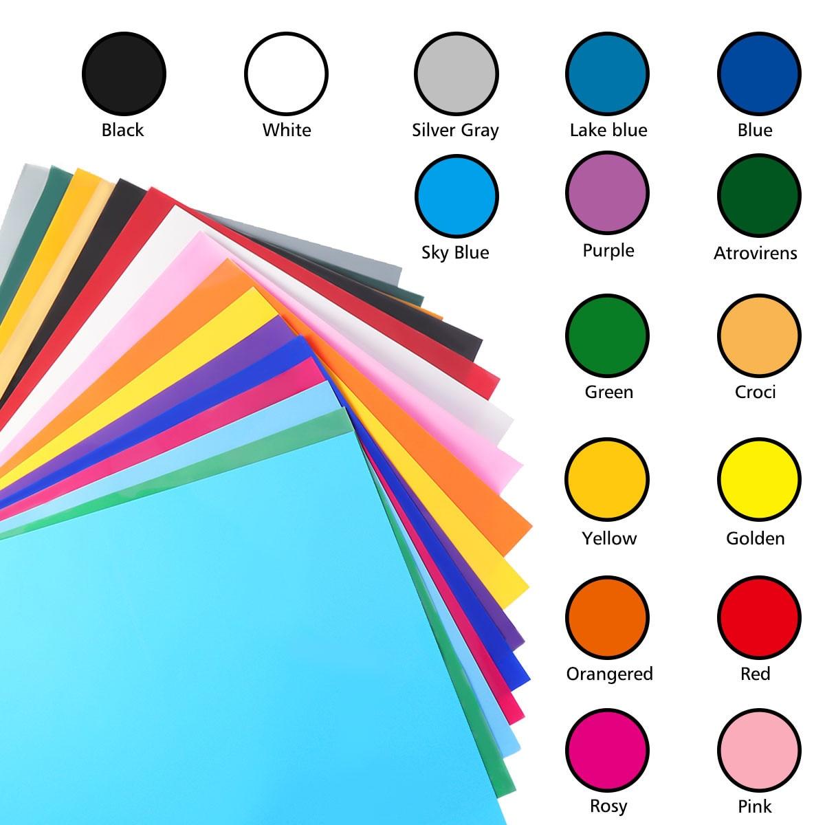 25Pcs Assorted Colors Dye Sublimation Heat Transfer Vinyl Film Paper For Polyester Cotton T- Shirt Cup Case 300X250mm