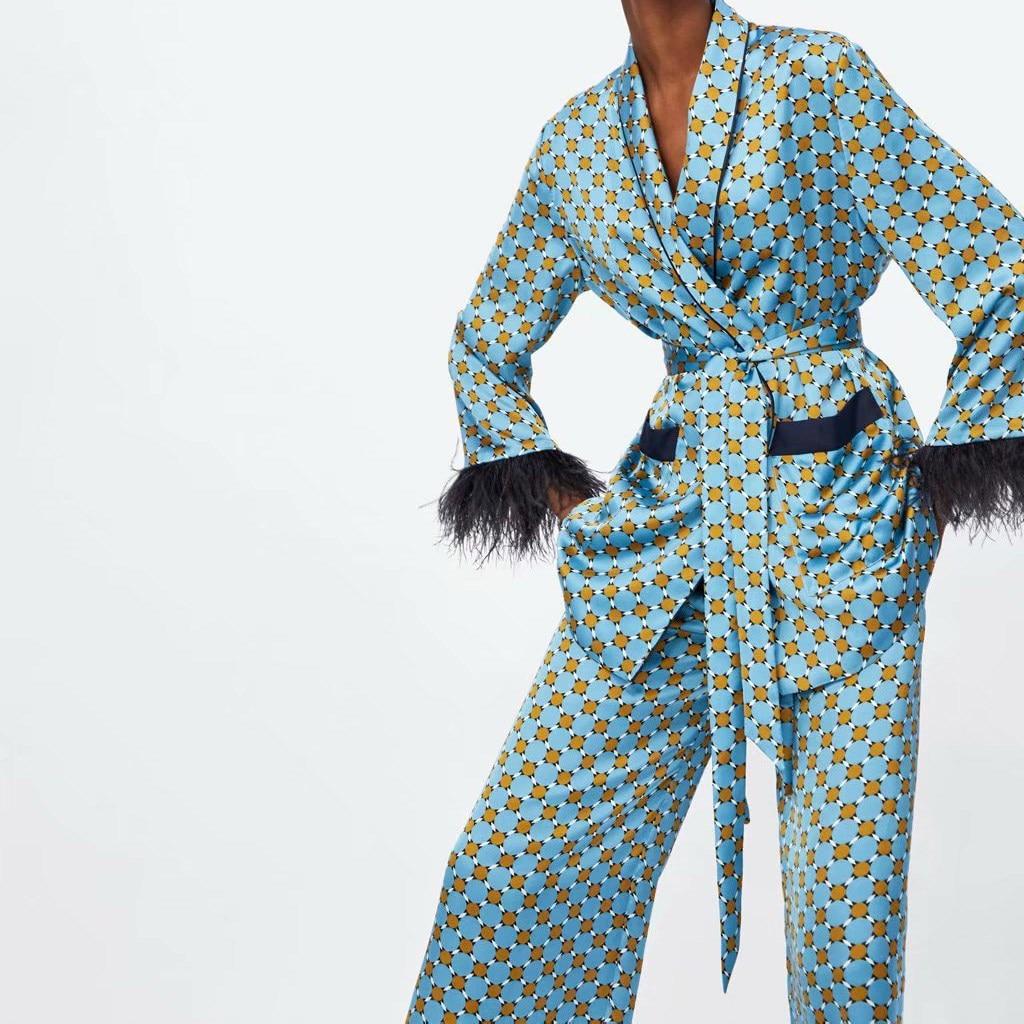 Women Pants Suits Sexy Printed Blazer Suits V Neck Long Sleeve Blazer Coat Jacket Belt Tassel Lace Upwide Leg Pants Suit