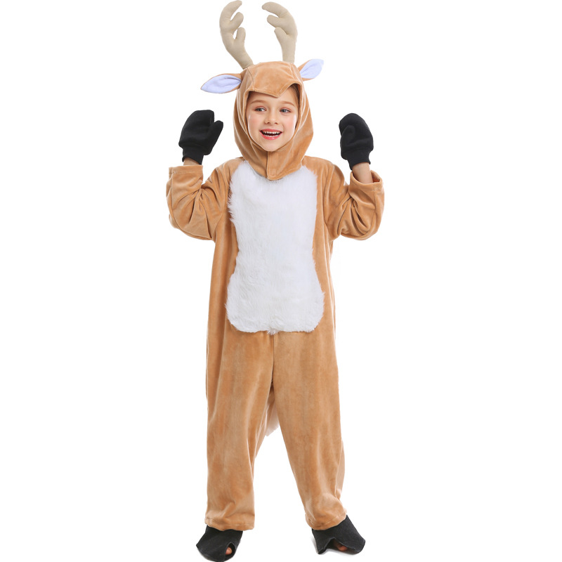 Cute Girls Reindeer Costume Kids Elk Cosplay Children Animal Halloween Christmas For