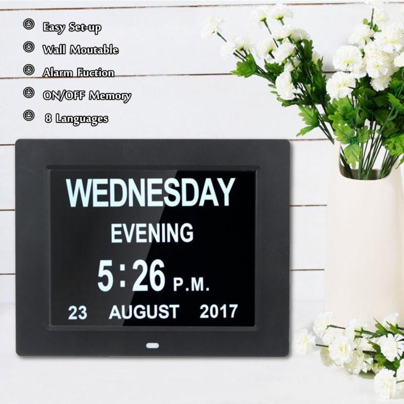 8 pouces LED calendrier électronique horloge grand calendrier mural numérique temps jour semaine année blanc/noir DC 5V décoration de la maison horloge